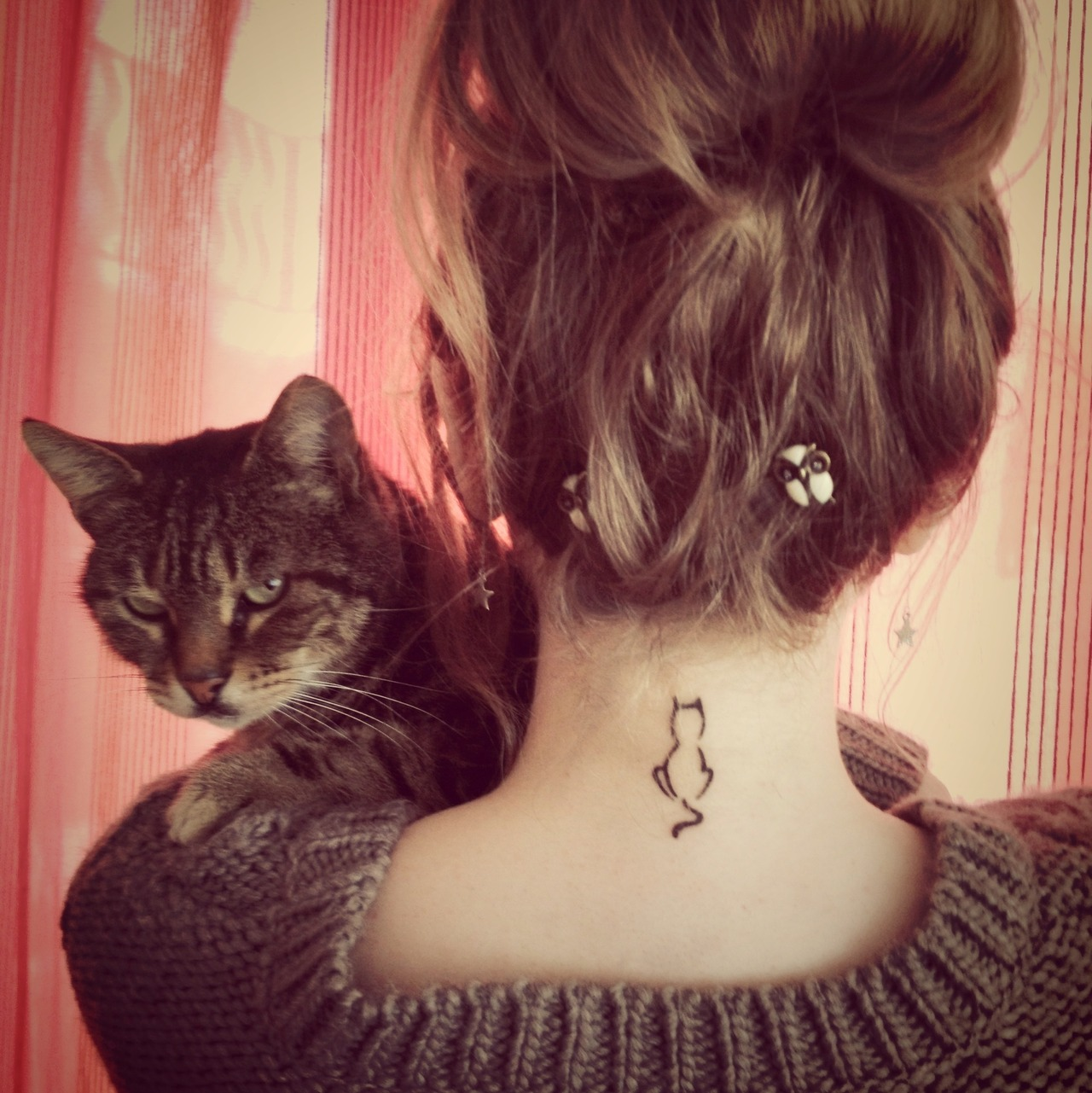 Girly Cat And Stars Neck Tattoos photo - 1