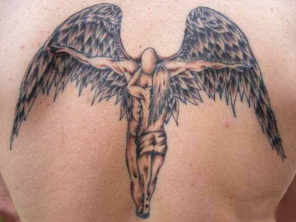 Glowing Angel Tattoo Design On Back photo - 1