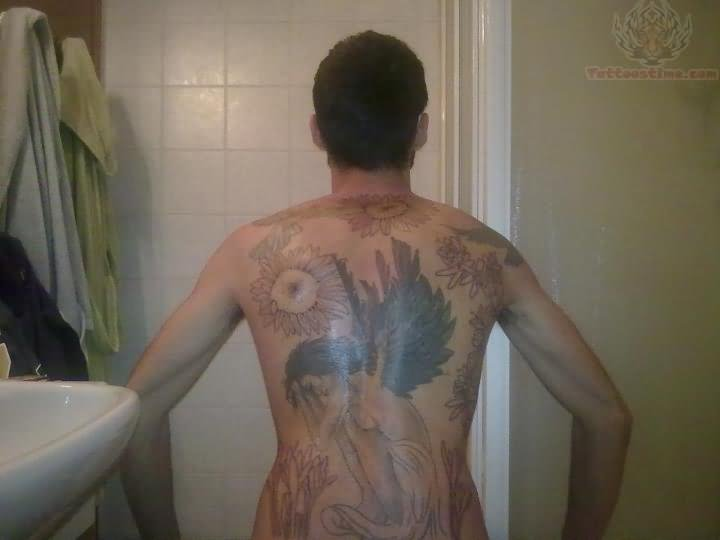 Glowing Angel Tattoo Design On Back photo - 3