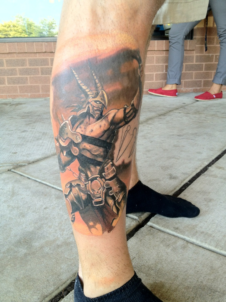 Greek Mythology Leg Tattoo Design photo - 1