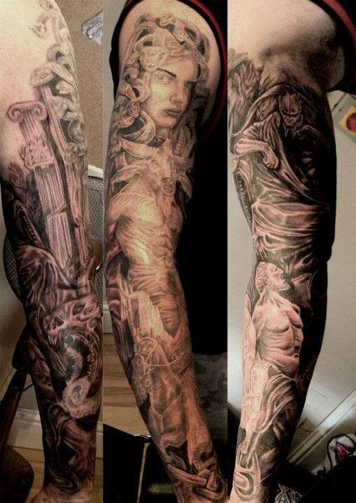 Greek Mythology Leg Tattoo Design photo - 2
