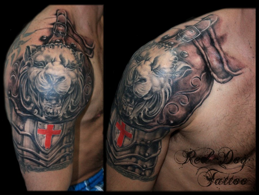 Grey 3D Stone Cross With Rosary Tattoos On Upper Arm photo - 3