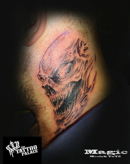 Grey Demon Tattoo On Side Of Neck photo - 2