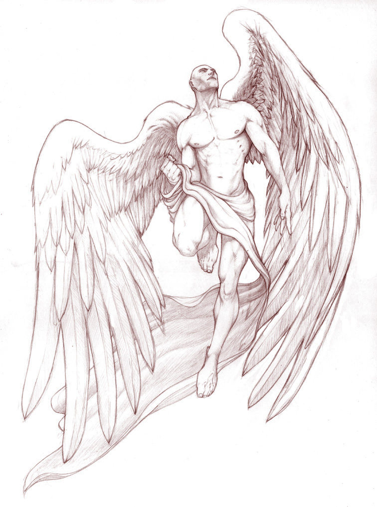 Grey Ink Angel Tattoo Design photo - 3