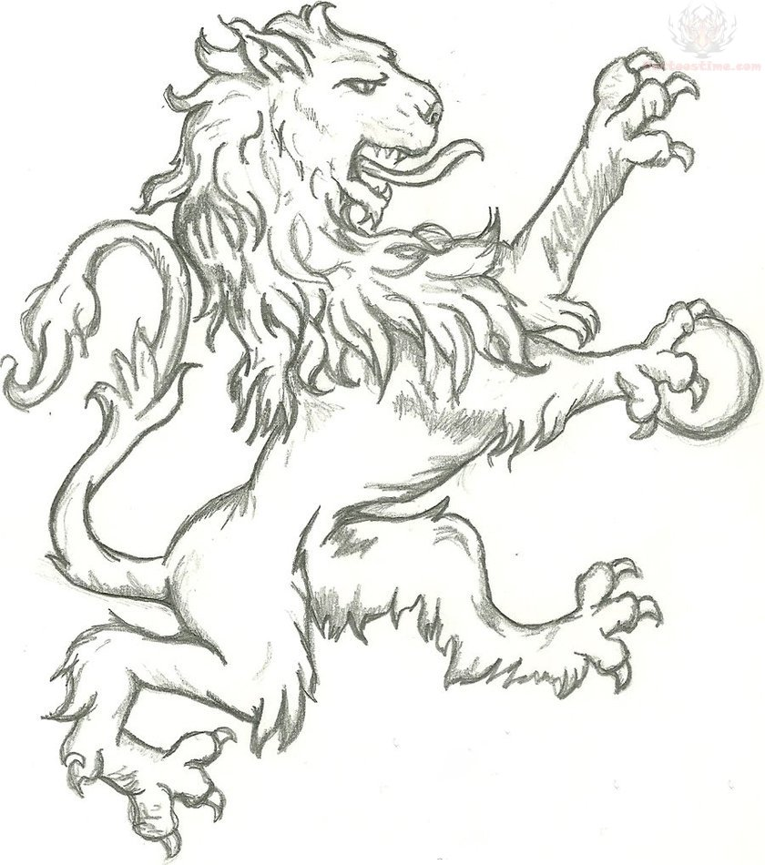 Grey Ink Hungry Lion Tattoo Design photo - 1