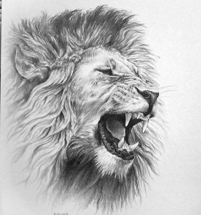 Grey Ink Lion Roaring Face Tattoo photo - 2