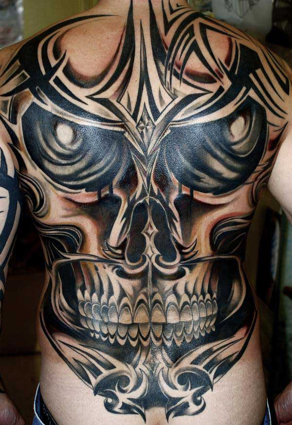 Grey Ink Tribal Tattoo On Belly photo - 3