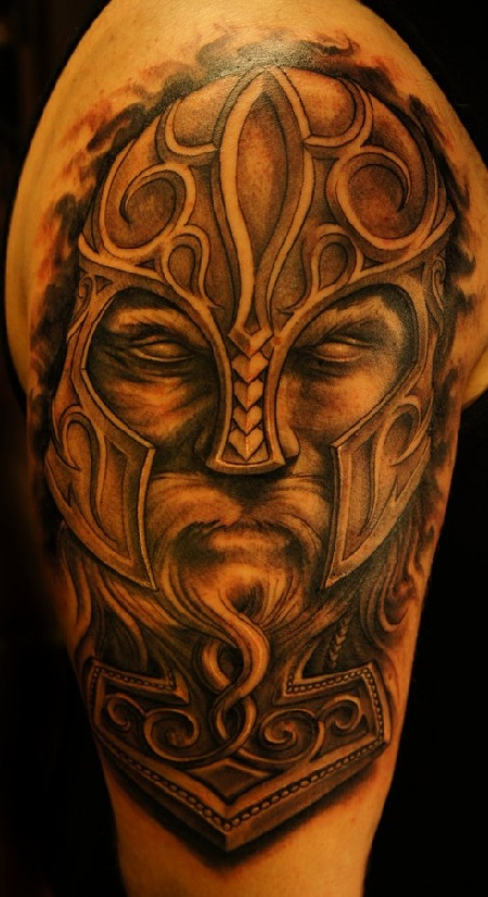 grey ink viking tattoo for shoulder in 2017 real photo