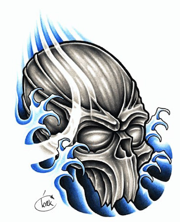 Grey Octopus And Waves Tattoo Design photo - 1