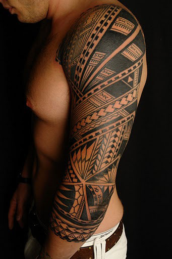 Half Sleeve Hawaiian Tribal Tattoo For Men photo - 1