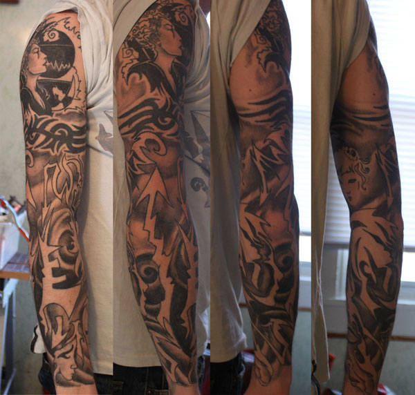 Half Sleeve Mix Tribal Tattoos photo - 1