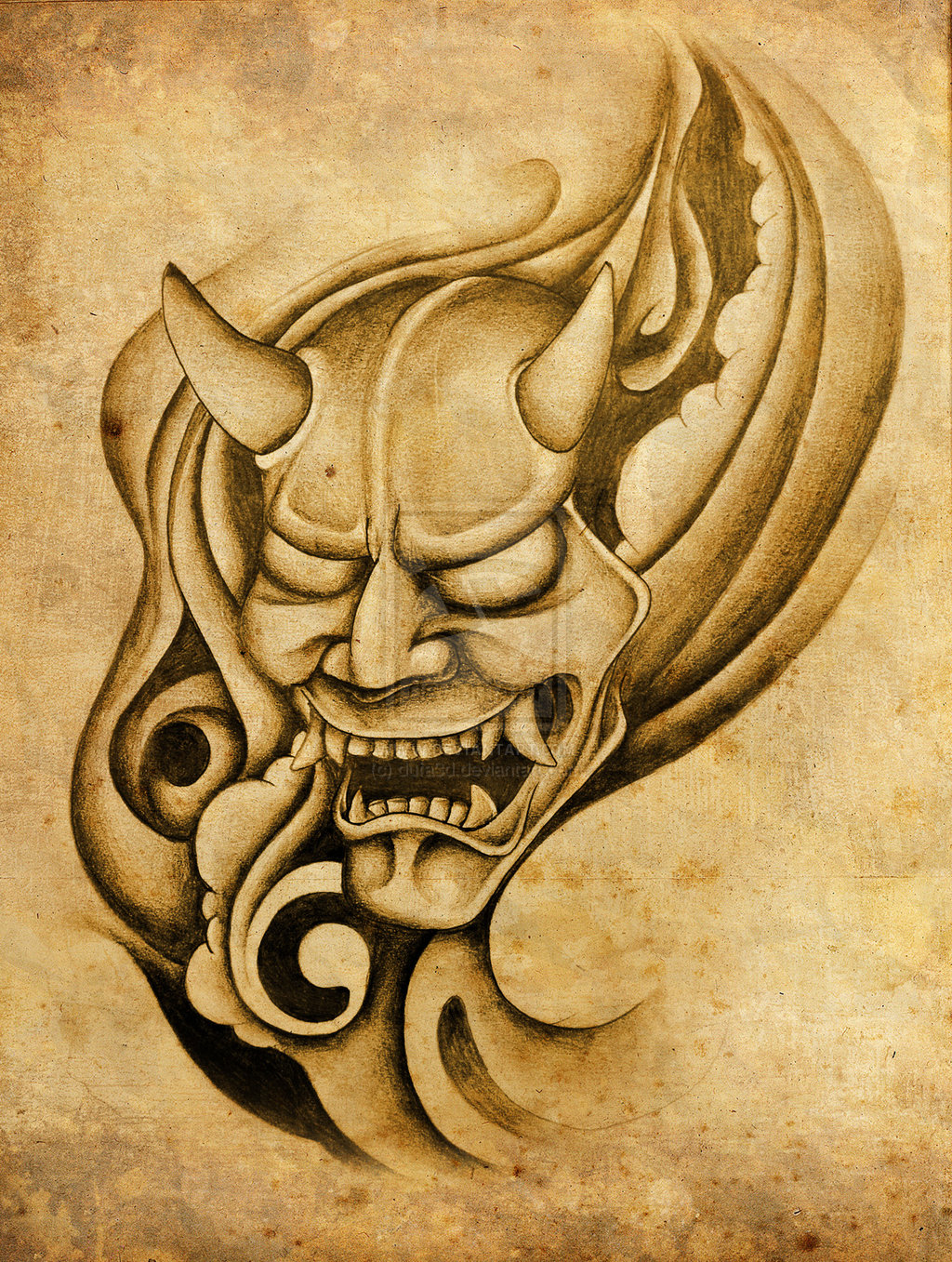 Hannya Mask And Waves Tattoo Poster photo - 1