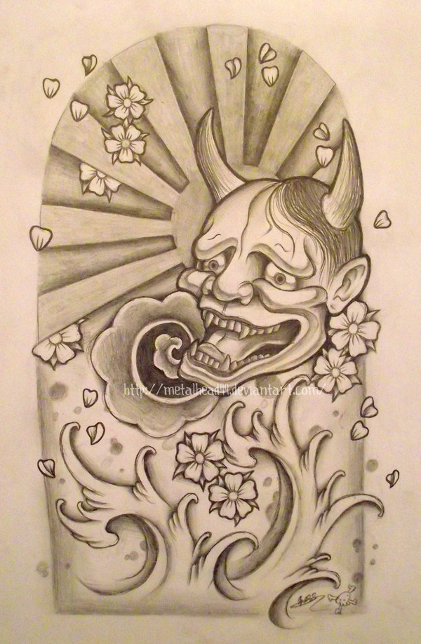Hannya Mask And Waves Tattoo Poster photo - 2