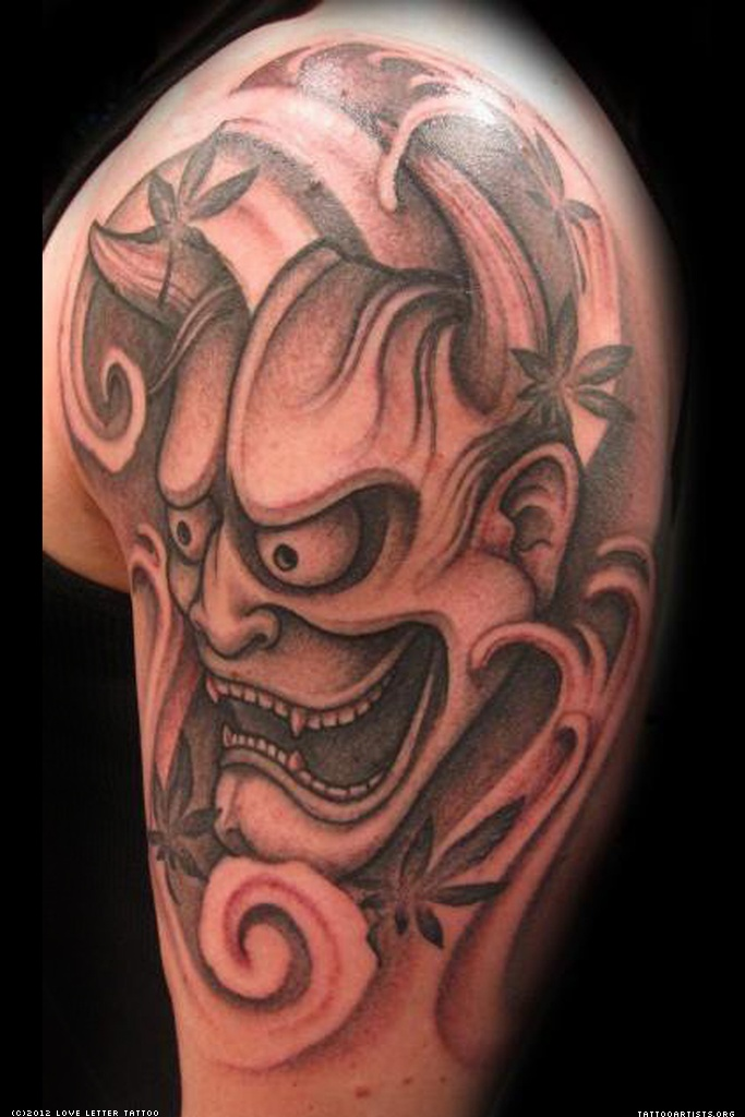 Hannya Mask Tattoo On Muscles For Men photo - 1