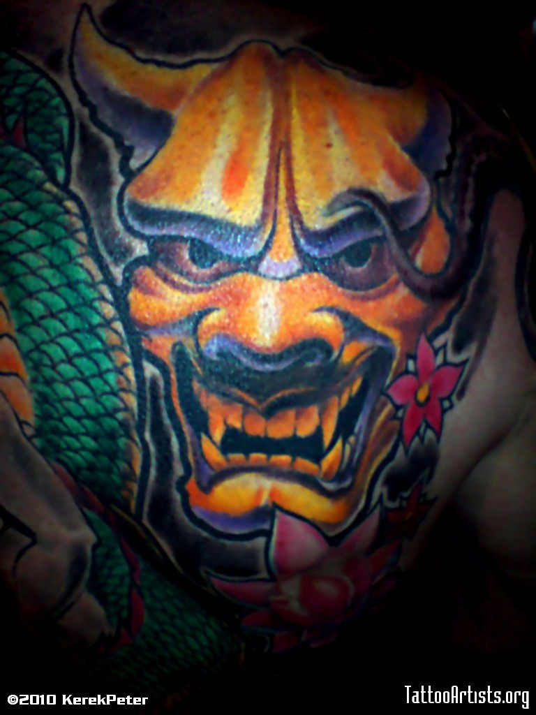 Hannya Mask With Lotus Tattoo Design photo - 1
