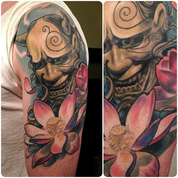Hannya Mask With Lotus Tattoo Design photo - 2