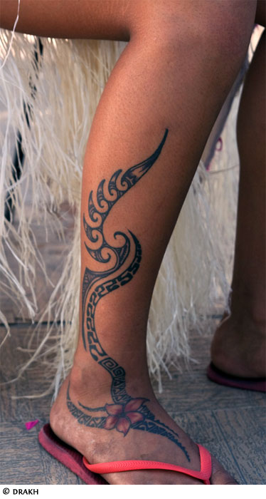 Hawaiian Polynesian Tribal Tattoo For leg photo - 1