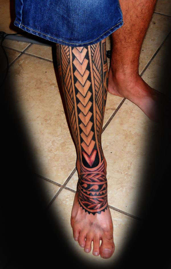 Hawaiian Polynesian Tribal Tattoo For leg photo - 3