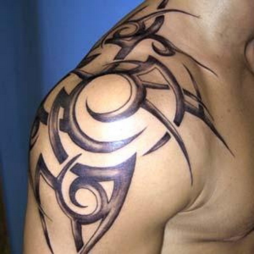 Hawaiian Tribal Tattoo On Left Shoulder photo - 2
