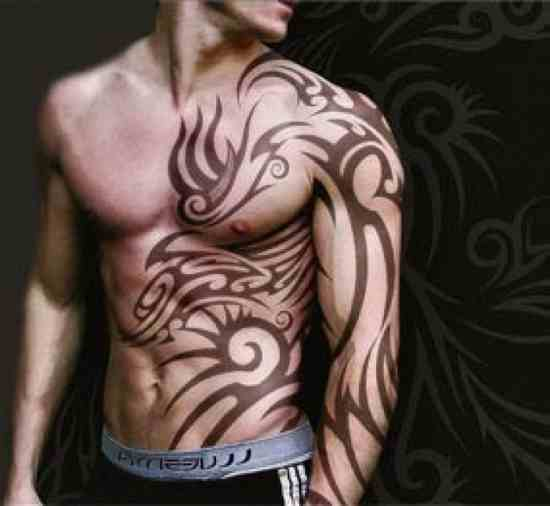 Huge Back Piece And Chest Tribal Tattoos photo - 2
