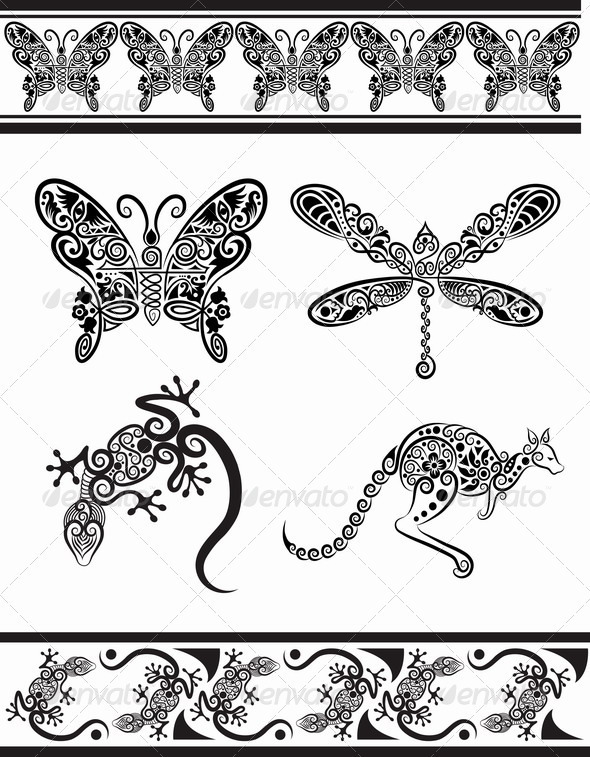 Isolated Butterfly Tattoo In Tribal Style On White Background photo - 3
