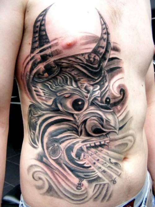Japanese Kabuki Mask Tattoo Flash photo - 1