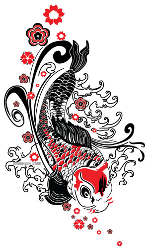 Japanese Kabuki Mask Tattoo Flash photo - 2