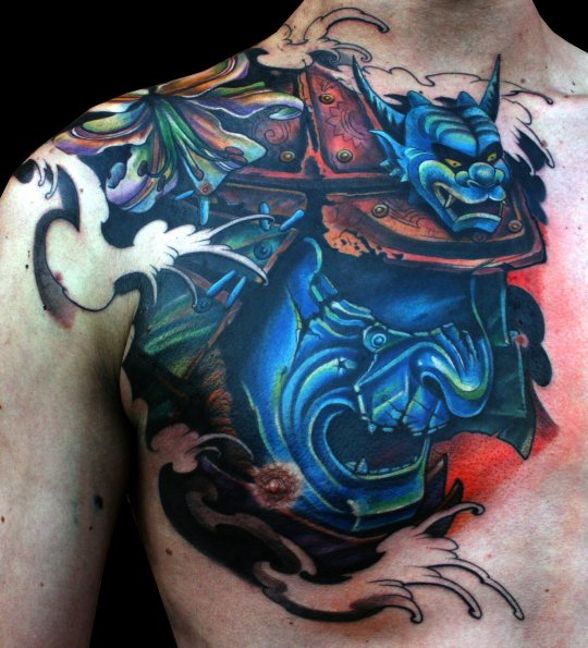 Japanese Kabuki Mask Tattoo Flash photo - 3