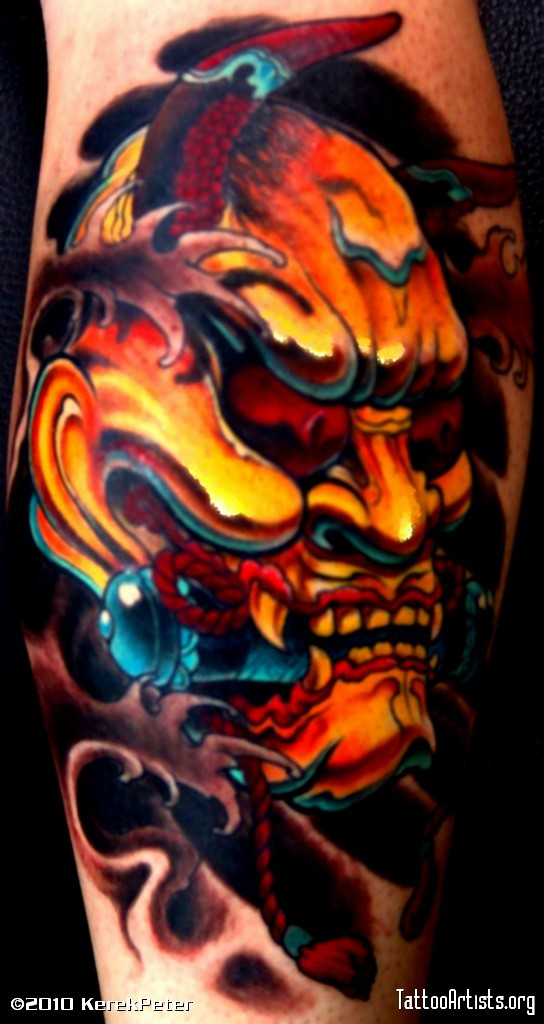 Japanese Lotus And Hannya Mask Tattoo On Sleeve photo - 1