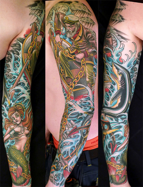 Japanese Mermaid Tattoo On Sleeve photo - 2