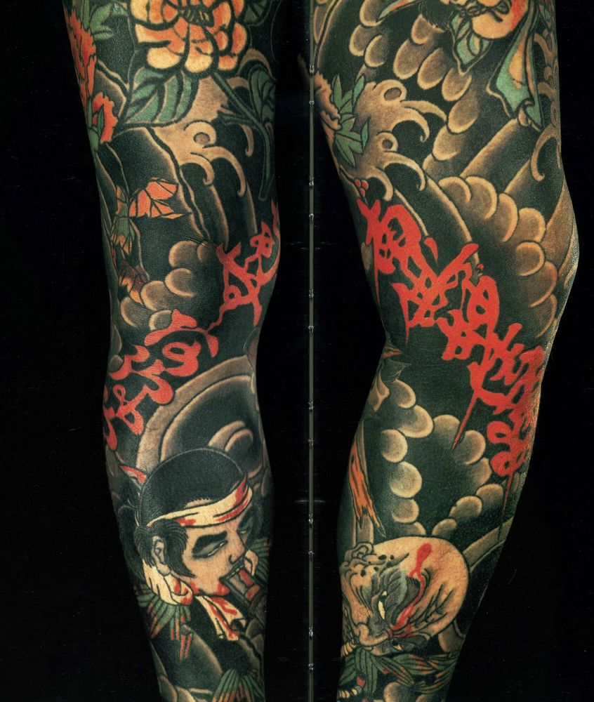 Japanese Oni Mask Tattoo With Roses On Arm photo - 1