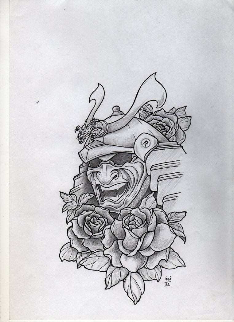 Japanese Oni Mask Tattoo With Roses On Arm photo - 2