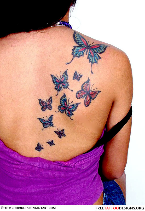 Kaidy Butterfly Back Neck Tattoos photo - 2