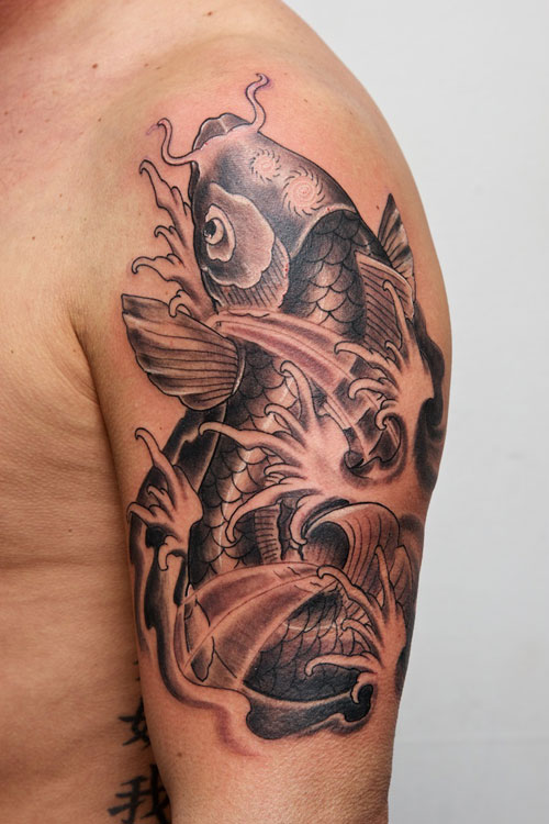 Koi Fish Tattoo Design On Chest photo - 1