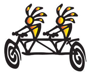 Kokopelli Tandem Bicycle Tattoo Design photo - 1