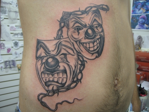 Laugh Now Cry Later Clown Mask Tattoo For Men photo - 1