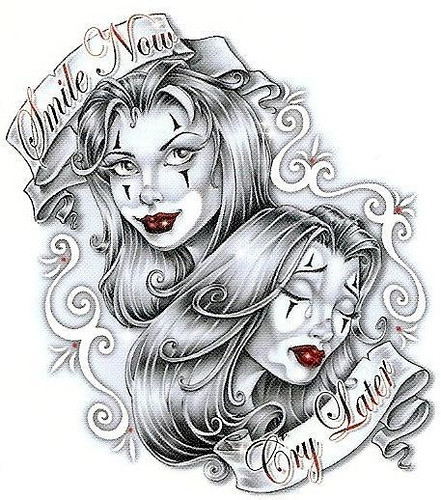 Laugh Now Cry Later Masks Tattoo Design photo - 3