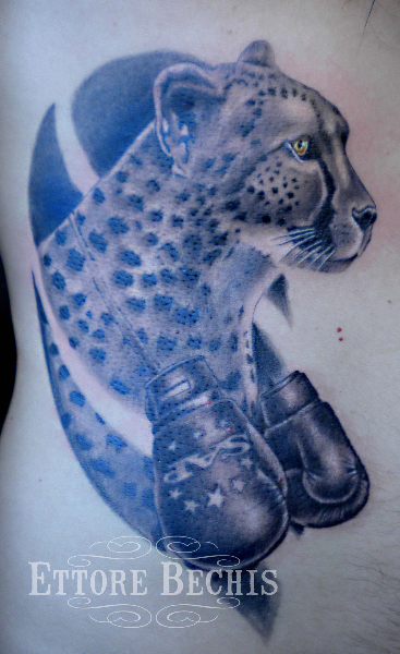 Leopard With Boxing Gloves Tattoo Design photo - 1