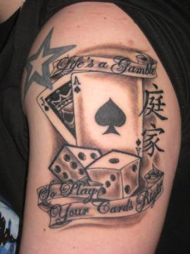 Lifes A Gamble Tattoo On Shoulder For Guys photo - 1
