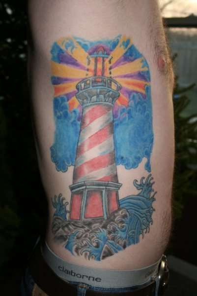 Lightning Lighthouse Banner And Ship Tattoos photo - 1