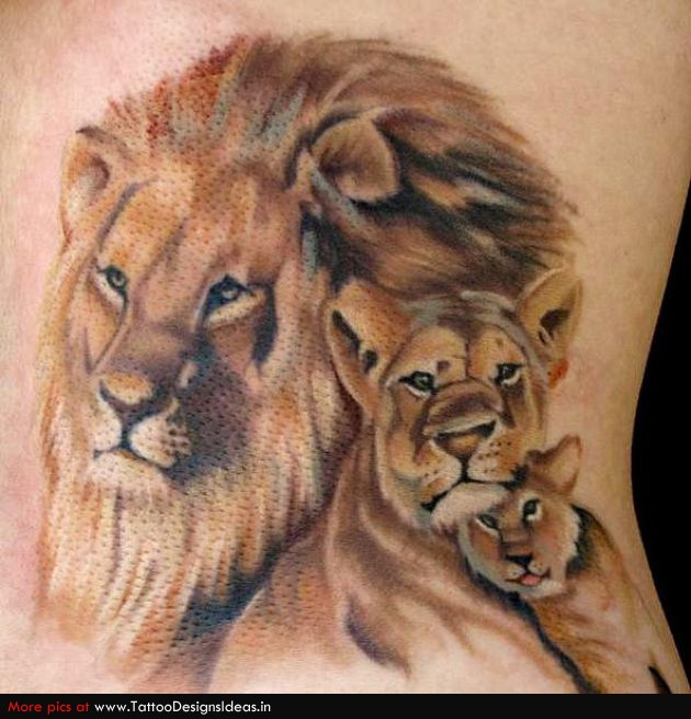 Lion And Cubs Tattoos On Upper Arm photo - 2