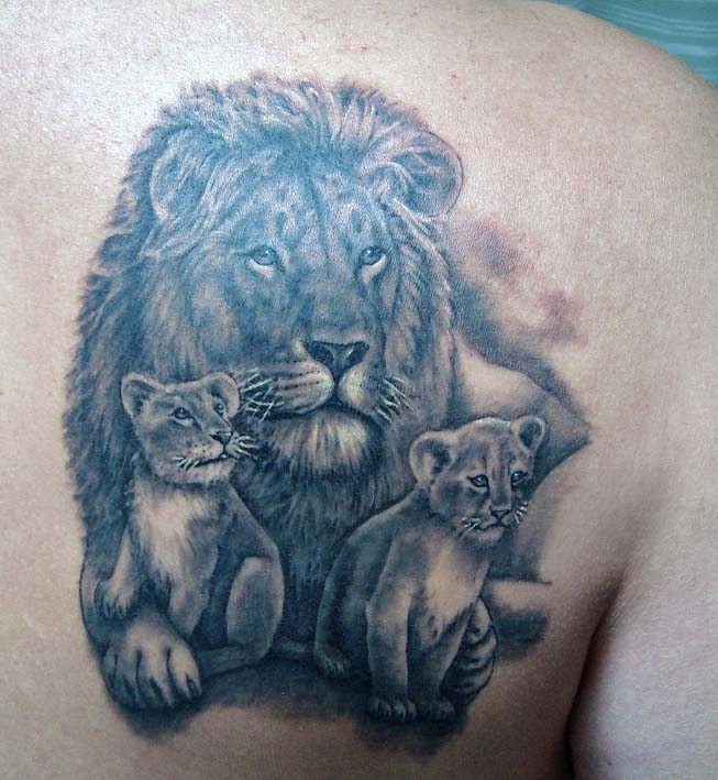 Lion And Cubs Tattoos On Upper Arm photo - 3