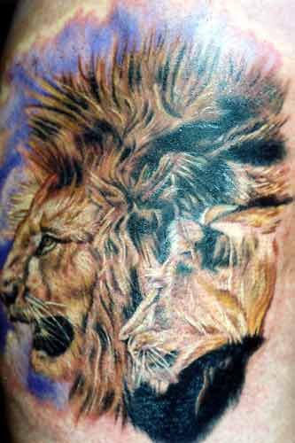 Lion Family Tattoo On Upper Back photo - 1