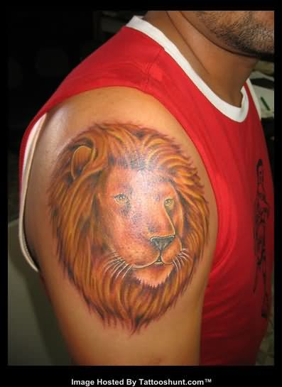 Lion Head Tattoo On Right Shoulder photo - 2