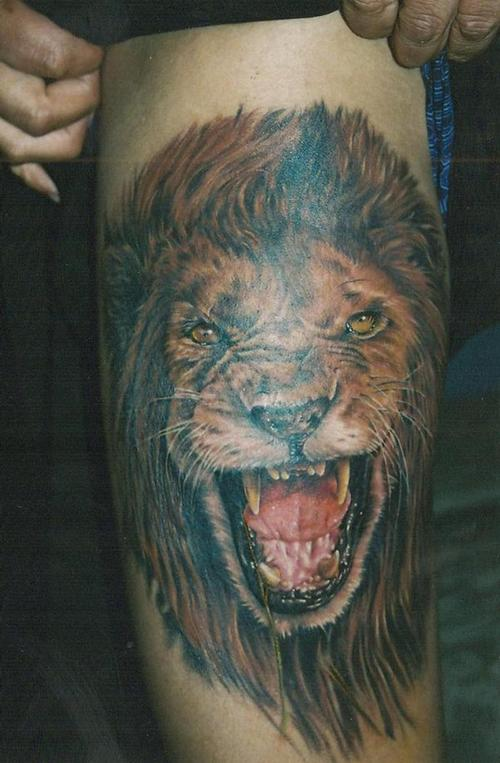 Lion Head Tattoo Picture On Knee photo - 3