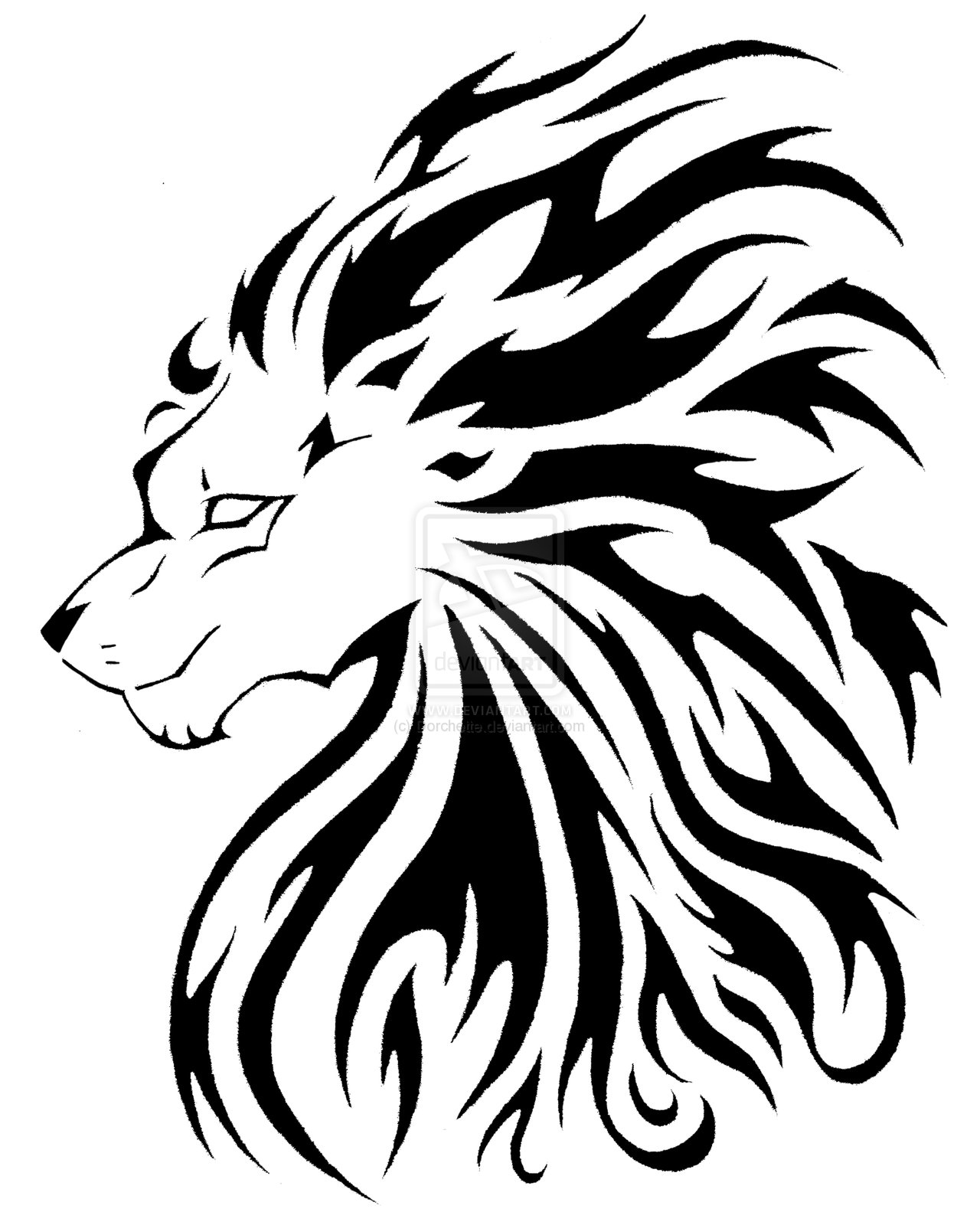 Lion On Fire Tattoo Stencil photo - 1