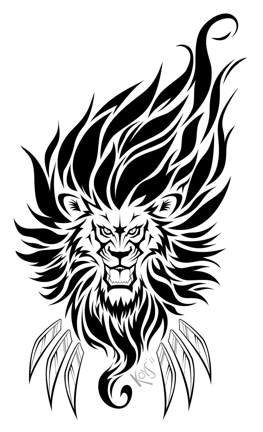 Lion On Fire Tattoo Stencil photo - 3