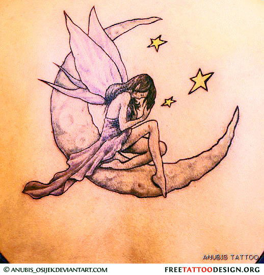 Little Crescent Moon With Stars Tattoos photo - 2