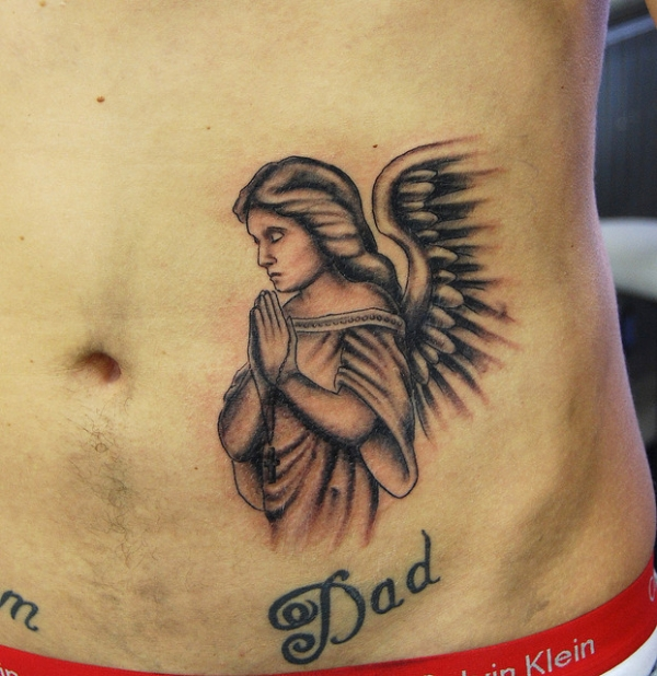 Lovely Angel Girl Tattoo For Dad photo - 1