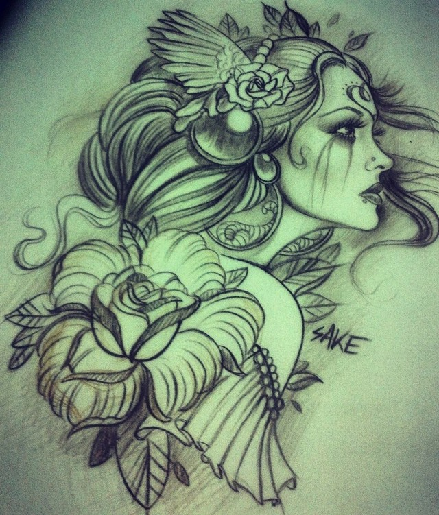 Lovely Angels Tattoo Pattern photo - 3